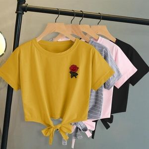 Fashion Summer Kawaii Embroidery Rose Print T Shir